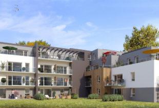 Vue de synthèse de la résidence Le Carré Vert à Plescop par Immo Golfe Bretagne