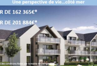 Affiche publicitaire pour la commercialisation d'appartements pour les primo accédants au sein de la résidence Horizon Marine à Damgan par Immo Golfe Bretagne