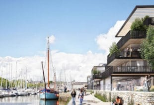 Vue en synthèse du projet de reconstruction et de réaménagement de la rive gauche du port de Vannes dans le Morbihan