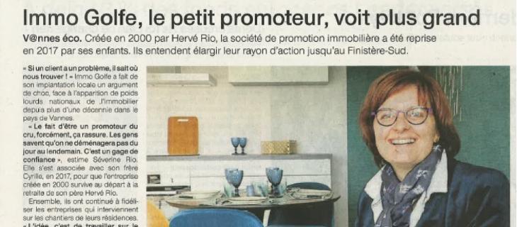 Numérisation d'un article sur le promoteur immobilier Immo Golfe Bretagne du Ouest-France du 7 janvier 2019