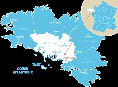 Carte de la Bretagne mettant en avant la localisation de la ville de Damgan dans le Morbihan